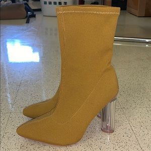 Yellow Heeled Boots Fashion Nova